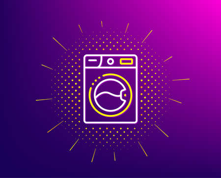 Washing machine line icon. Halftone pattern. Laundry service sign. Clothing cleaner symbol. Gradient background. Washing machine line icon. Yellow halftone pattern. Vector