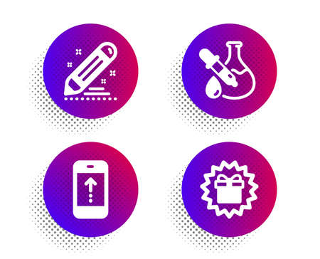 Brand contract, Swipe up and Chemistry experiment icons simple set. Halftone dots button. Surprise gift sign. Edit report, Scrolling screen, Laboratory flask. Shopping offer. Business set. Vector
