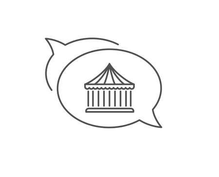Carousels line icon. Chat bubble design. Amusement park sign. Outline concept. Thin line carousels icon. Vector
