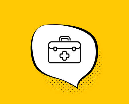 First aid line icon. Comic speech bubble. Medicical kit sign. Pharmacy medication symbol. Yellow background with chat bubble. First aid icon. Colorful banner. Vector Illustration