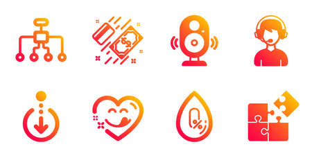 Restructuring, Consultant and Payment line icons set. No alcohol, Yummy smile and Scroll down signs. Speaker, Puzzle symbols. Delegate, Call center. Business set. Vector Çizim