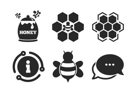 Honeycomb cells with bees symbol. Chat, info sign. Honey icon. Sweet natural food signs. Classic style speech bubble icon. Vector