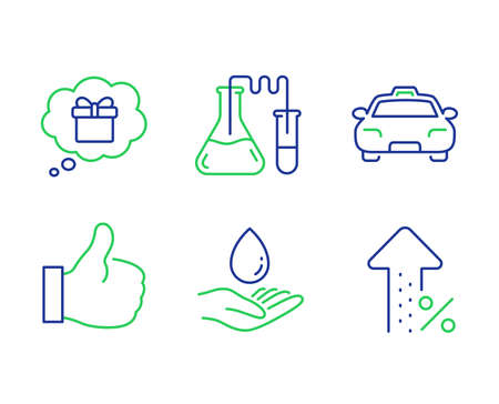 Water care, Taxi and Gift dream line icons set. Like, Chemistry lab and Increasing percent signs. Aqua drop, Passengers transport, Receive a gift. Thumbs up. Business set. Vector