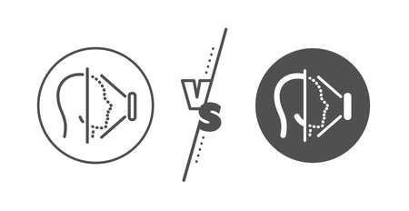 Phone Face id sign. Versus concept. Face scanning line icon. Head recognition symbol. Line vs classic face id icon. Vector