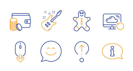 Scroll down, Swipe up and Recovery cloud line icons set. Gingerbread man, Smile chat and Electric guitar signs. Payment method, Information symbols. Mouse swipe, Scrolling page. Business set. Vector
