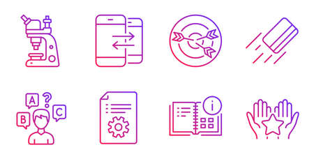 Technical documentation, Phone communication and Microscope line icons set. Credit card, Targeting and Quiz test signs. Instruction info, Ranking symbols. Manual, Incoming and outgoing calls. Vector