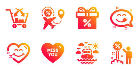 Yummy smile, Cross sell and Ship travel line icons set. Flight sale, Smile face and Discount offer signs. Miss you, Discount symbols. Emoticon, Market retail. Holidays set. Vector 向量圖像