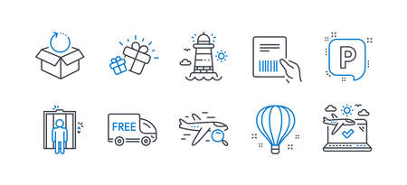 Set of Transportation icons, such as Gift, Elevator, Lighthouse, Air balloon, Free delivery, Parking, Search flight, Parcel invoice, Return package, Airplane travel line icons. Line gift icon. Vector