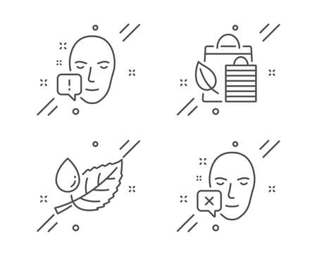 Leaf dew, Bio shopping and Face attention line icons set. Face declined sign. Water drop, Leaf, Exclamation mark. Identification error. Healthcare set. Line leaf dew outline icon. Vector