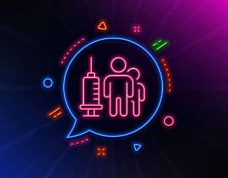 Medical vaccination line icon. Neon laser lights. Medicine vaccine sign. Pharmacy medication symbol. Glow laser speech bubble. Neon lights chat bubble. Vector