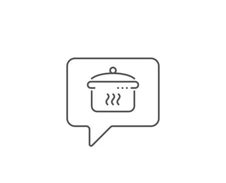 Boiling pan line icon. Chat bubble design. Cooking sign. Food preparation symbol. Outline concept. Thin line boiling pan icon. Vector Illustration