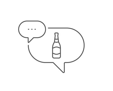 Beer bottle line icon. Chat bubble design. Pub Craft beer sign. Brewery beverage symbol. Outline concept. Thin line beer bottle icon. Vector Ilustração