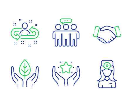 Handshake, Employees group and Ranking line icons set. Fair trade, Recruitment and Oculist doctor signs. Deal hand, Collaboration, Hold star. Safe nature. People set. Vector