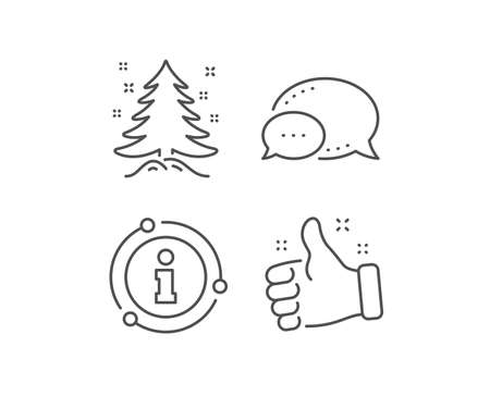 Christmas tree present line icon. Chat bubble, info sign elements. New year spruce sign. Fir-tree symbol. Linear christmas tree outline icon. Information bubble. Vector