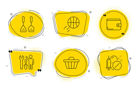 Money wallet, Cooking cutlery and Medical drugs signs. Chat bubbles. Basketball, Shop cart and Repairman line icons set. Sport ball, Web buying, Repair screwdriver. Payment method. Vector