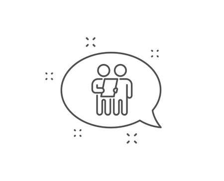 Survey line icon. Chat bubble design. Contract application sign. Agreement document symbol. Outline concept. Thin line survey icon. Vector