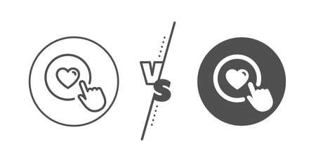Love button symbol. Versus concept. Click like line icon. Valentines day sign. Line vs classic like button icon. Vector
