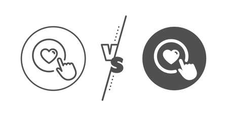 Love button symbol. Versus concept. Click like line icon. Valentines day sign. Line vs classic like button icon. Vector