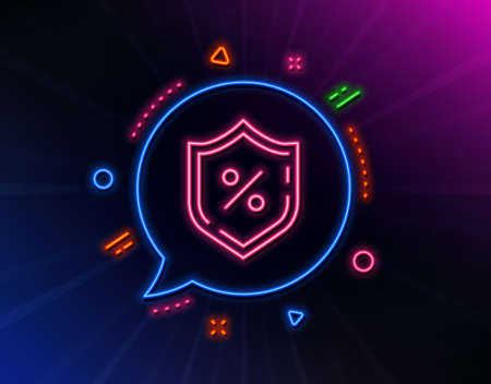 Loan percent line icon. Neon laser lights. Protection shield sign. Credit percentage symbol. Glow laser speech bubble. Neon lights chat bubble. Banner badge with loan percent icon. Vector