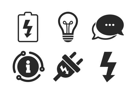 Lamp bulb and battery symbols. Chat, info sign. Electric plug icon. Low electricity and idea signs. Classic style speech bubble icon. Vector 向量圖像