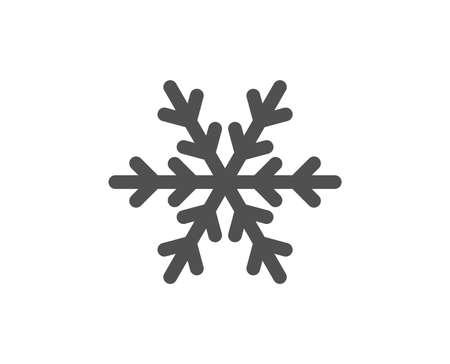 Segno del fiocco di neve. Icona di aria condizionata. Simbolo del servizio alberghiero. Stile piatto classico. Icona semplice dell'aria condizionata. Vettore