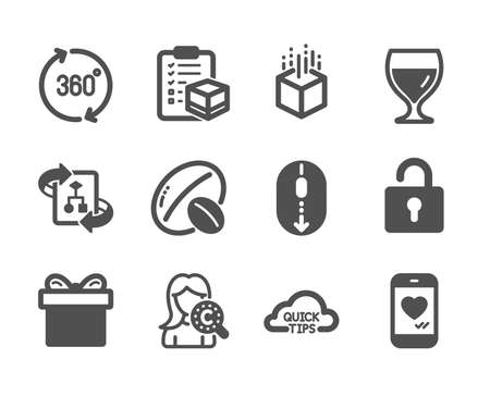 Set of Business icons, such as Wine glass, Technical algorithm, Quick tips, 360 degrees, Augmented reality, Soy nut, Parcel checklist, Lock, Gift box, Love chat, Collagen skin, Scroll down. Vector