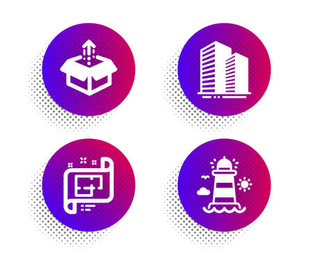 Architectural plan, Send box and Skyscraper buildings icons simple set. Halftone dots button. Lighthouse sign. Technical project, Delivery package, Town architecture.