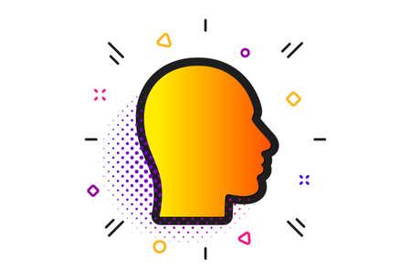 Human profile sign. Halftone circles pattern. Head icon. Facial identification symbol. Classic flat head icon. Vector