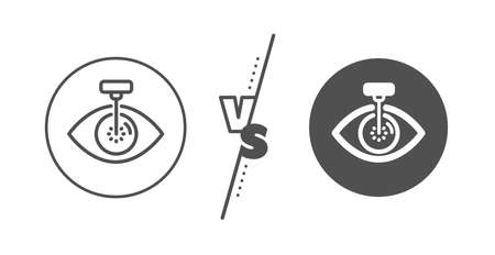Oculist clinic sign. Versus concept. Eye laser surgery line icon. Optometry vision symbol. Line vs classic eye laser icon. Vector
