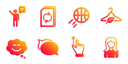 Agent, Smile chat and Talk bubble line icons set. Update document, Touchscreen gesture and Basketball signs. Slow fashion, Woman symbols. Business person, Happy face. Business set. Vector