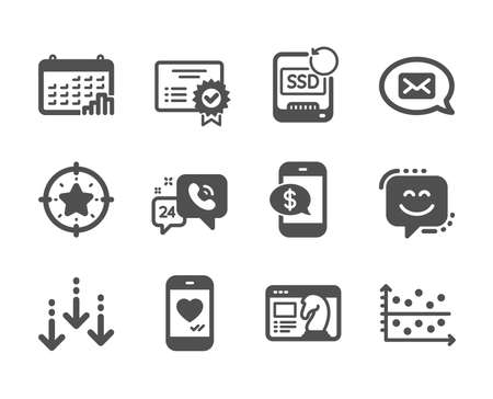 Set of Technology icons, such as Dot plot, Messenger, Star target, Calendar graph, Phone payment, Certificate, Recovery ssd, Scroll down, Seo strategy, Love chat, 24h service, Smile face. Vector