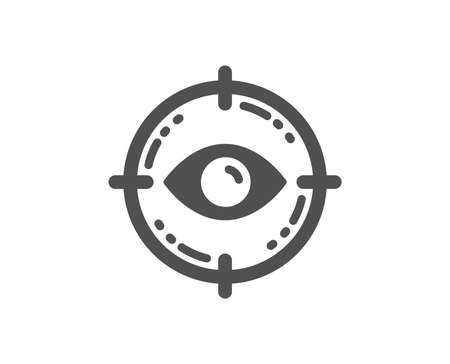 Oculist clinic sign. Eye target icon. Optometry vision symbol. Classic flat style. Simple eye target icon. Vector Stock Illustratie