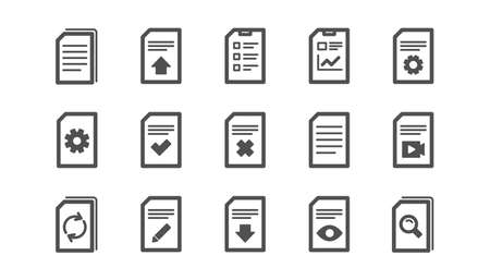 Document icons. Report, Checklist and Download file. Read message classic icon set. Quality set. Vector