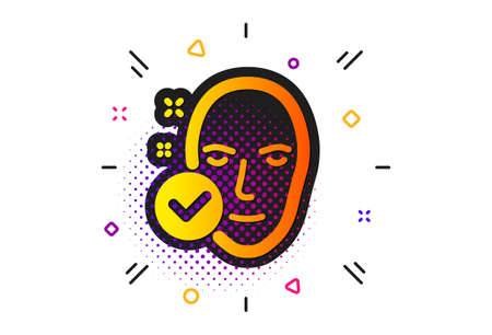 Face care sign. Halftone circles pattern. Health skin icon. Cosmetic lotion symbol. Classic flat health skin icon. Vector 向量圖像