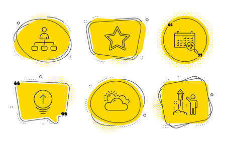 Medical calendar, Management and Fireworks signs. Chat bubbles. Sunny weather, Star and Swipe up line icons set. Summer, Best rank, Scrolling page. Doctor appointment. Science set. Vector Ilustração