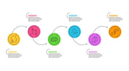 Unlock system, Technical documentation and Click hands signs. Infographics timeline. Income money, Safe time and Journey path line icons set. Wealth, Management, Project process. Vector Ilustração