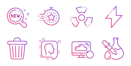 New products, Energy and Head line icons set. Timer, Chemical hazard and Trash bin signs. Recovery cloud, Chemistry experiment symbols. Search, Thunderbolt. Science set. Vector