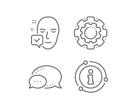Face accepted line icon. Chat bubble, info sign elements. Access granted sign. Facial identification success symbol. Linear face accepted outline icon. Information bubble. Vector Illusztráció