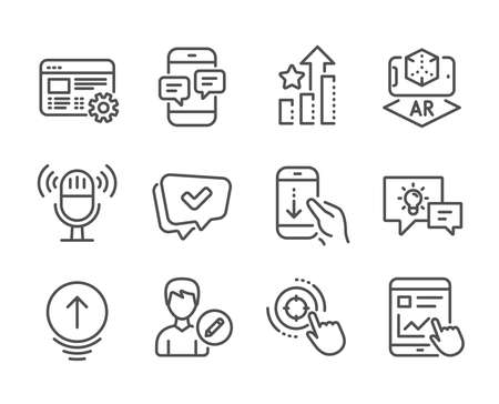 Set of Technology icons, such as Internet report, Seo target, Swipe up, Edit person, Ranking stars, Phone messages, Web settings, Augmented reality, Approved, Scroll down, Idea lamp. Vector
