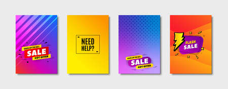 Need help symbol. Cover design, banner badge. Support service sign. Faq information. Poster template. Sale, hot offer discount. Flyer or cover background. Coupon, banner design. Vector
