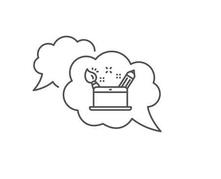 Creativity concept line icon. Chat bubble design. Graphic designer sign. Brush and pencil symbol. Outline concept. Thin line creativity concept icon. Vector Illustration