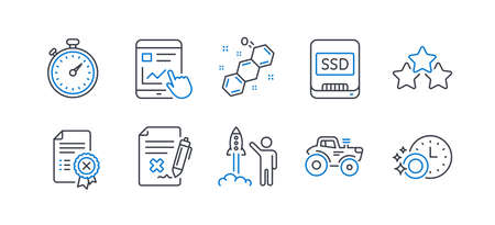 Set of Technology icons, such as Reject certificate, Launch project, Ssd, Timer, Tractor, Internet report, Chemical formula, Ranking stars, Reject file, Dishwasher timer line icons. Vector