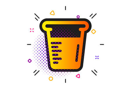 Glass water sign. Halftone circles pattern. Cooking beaker icon. Measuring cup symbol. Classic flat cooking beaker icon. Vector