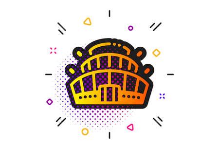 Competition building sign. Halftone circles pattern. Arena stadium icon. Sport complex symbol. Classic flat arena stadium icon. Vector Ilustrace