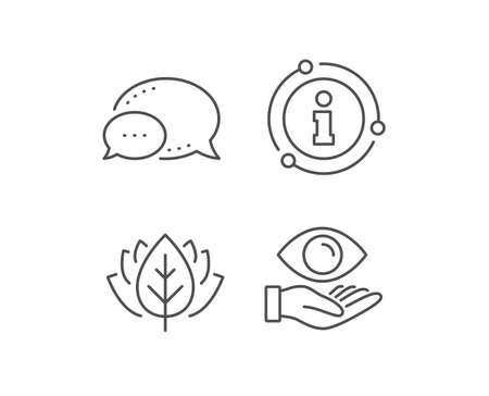 Eye care line icon. Chat bubble, info sign elements. Oculist clinic sign. Optometry vision symbol. Linear health eye outline icon. Information bubble. Vector