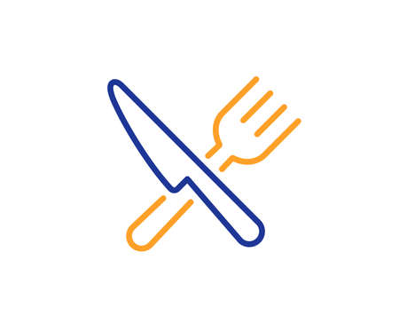 Cutlery sign. Food line icon. Fork, knife symbol. Colorful outline concept. Blue and orange thin line food icon. Vector Illustration