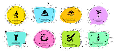 Water splash, Cooking whisk and Beer glass line icons set. Chat bubbles with quotes. Water glass, Frying pan and Cooking timer signs. Brandy bottle symbol. Aqua drop, Cutlery. Vector