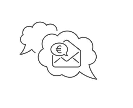 Euro via mail line icon. Chat bubble design. Send or receive money sign. Outline concept. Thin line euro money icon. Vector