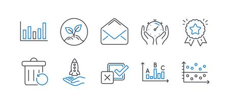 Set of Education icons, such as Ranking star, Crowdfunding, Mail, Checkbox, Survey results, Startup, Column chart, Timer, Recovery trash, Dot plot line icons. Winner medal, Start business. Vector Illusztráció