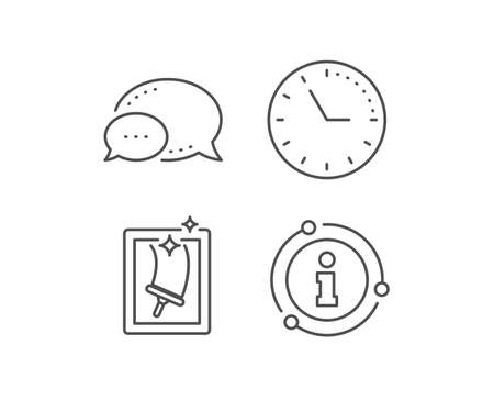 Window cleaning line icon. Chat bubble, info sign elements. Washing service symbol. Housekeeping equipment sign. Linear window cleaning outline icon. Information bubble. Vector Ilustracja